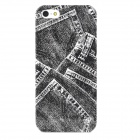 Protective Retro Jeans Pattern Plastic Back Case for Iphone 5 - Black