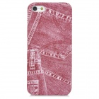 Retro Jeans Style Protective Plastic Back Case for Iphone 5 - Red
