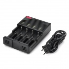 LusteFire F4 4-Slot Battery Charger for 26650 / 18650 / 17670 / 18490 + More - Black (US Plug)