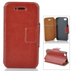 Protective PU Leather Flip Open Case for Iphone 4 / 4S - Brown