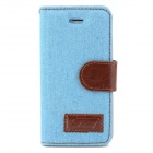 Protective Jeans PU Leather Case for Iphone 5 - Royalblue + Brown