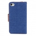 Protective Jean + PU Leather Flip Case for Iphone 4 / 4S - Blue + Brown