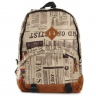 Newspaper Pattern Casual Canvas + PU Backpack / Student Bag - Multicolored