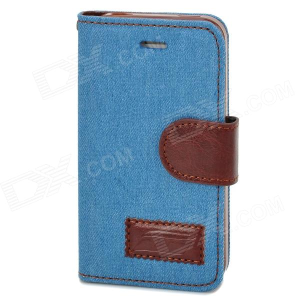 Denim Fabric Style Protective PU Leather Case for Iphone 4 / 4S - Blue + Brown k win ip 4 stylish pu leather pc protective case w cute mustache holder for iphone 4s 4 brown