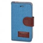Denim-Gewebe Stil Protective PU Ledertasche für iPhone 4 / 4S - Blau + Brown