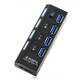 5Gbps 4-Port USB 3.0 Hub w/ Independent Switch - Black + Blue