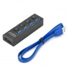 5Gbps de 4 puertos USB 3.0 Hub w / Switch Independiente - Negro + azul