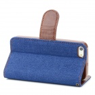 Protective Jeans PU Leather Case for Iphone 5 - Deep Blue + Brown