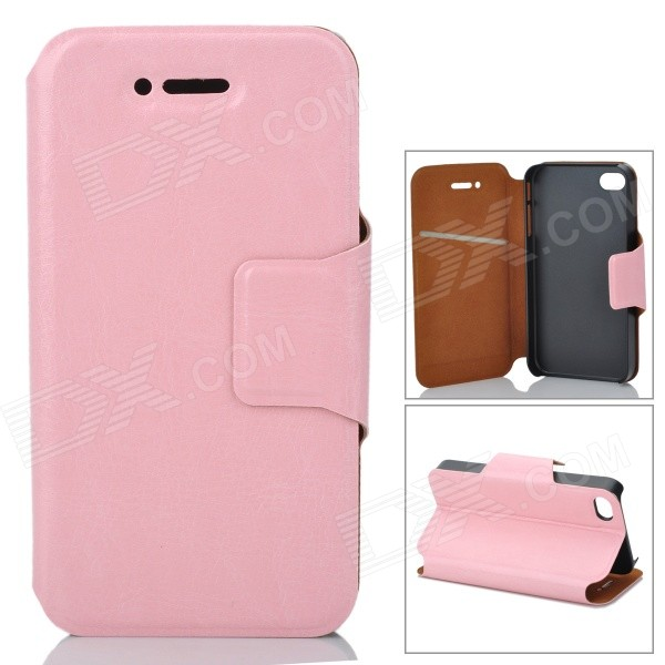 Protective PU Leather Flip Open Case for Iphone 4 / 4S - Pink protective pu leather flip open case for iphone 4 4s black