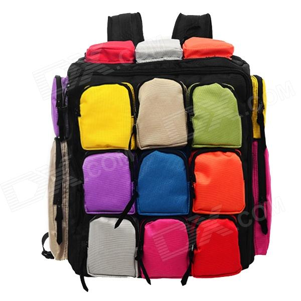 Nine Grid Pattern Outdoor Travel Nylon Backpack - Multicolored