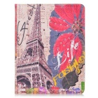 Protective Tower & Red Leaves Pattern PU Leather Flip Open Case for Ipad 2/3/4 - Multicolor