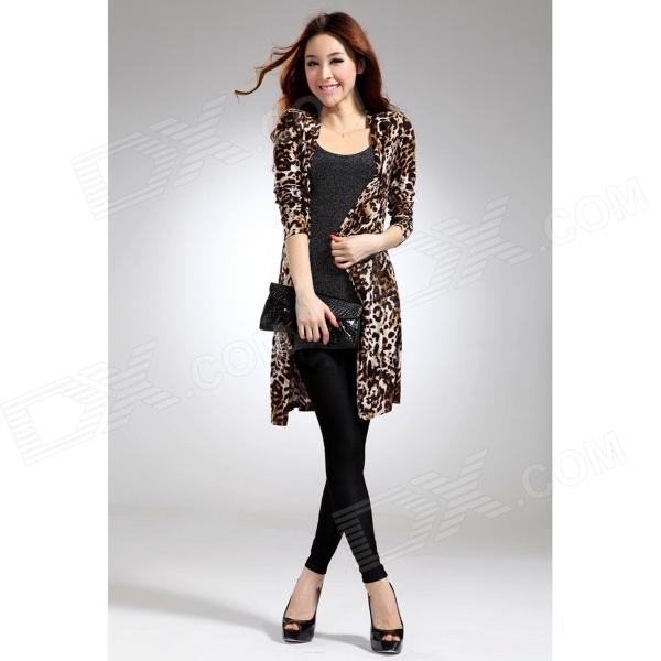 BW10 Woman's Sexy Leopard Pattern Milk Silk Blazer Sweater - Black + Brown