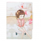 Balloons and Girl Pattern Protective PU Leather Case for Ipad MINI - Multicolored