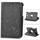 Stylish 360' Rotating Back PU Leather Case w/ Holder for Samsung P3200 - Black