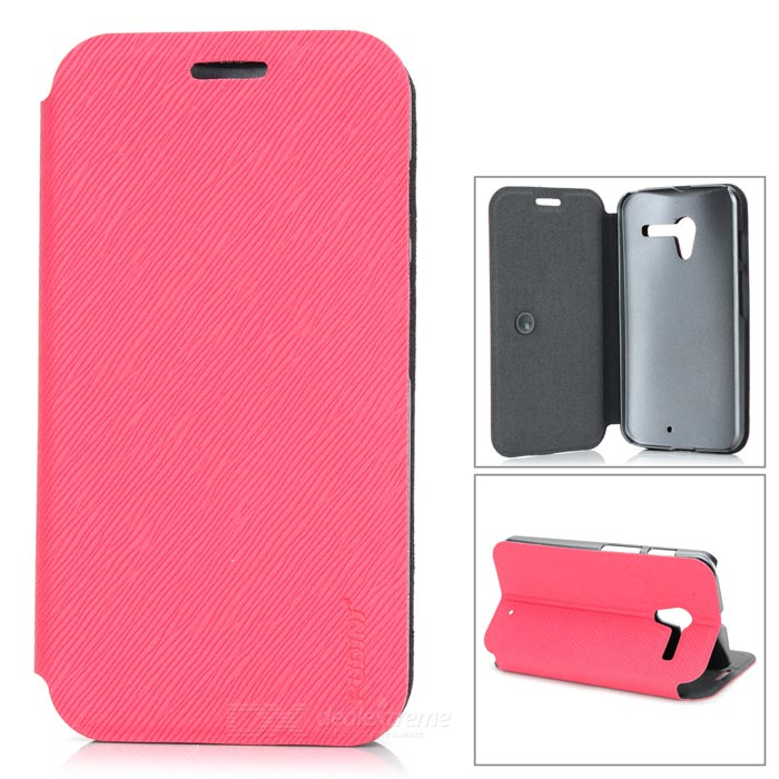 PUDINI WB-Moto X Stylish Flip-open PU Leather Case w/ Holder for Motorola X Phone - Deep Pink + Gray malata a18 1 3 super long standby mini mobile phone deep gray