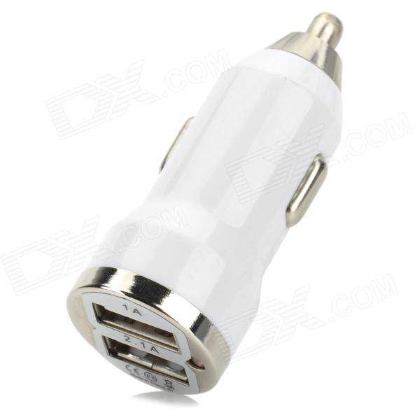 Dual USB Car Cigarette Lighter Power Charger - White (12~24V)