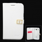 HELLO DEERE Ailun Protective Flip-open PU Leather Case w/ Card Slot for Samsung i8262 - White