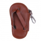 Portable Head Layer Cowhide Slipper Car Key Holder Case Bag - Brown