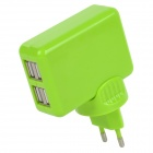 AC Charging Adapter Charger w/ 4-Port USB for Iphone / Ipad - Green (EU Plug)