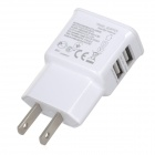 Universal AC Charger w/ Dual USB Output for Iphone / Ipad / Ipod - White (US Plug)