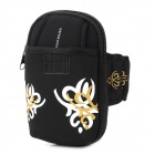 "Oval Shaped Printing Pattern Sports Neoprene Armband Bag for 4.6~5.0"" Screen Cell Phones - Black"