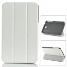 Stylish Flip-open PU Leather Case w/ Holder for Samsung P3200 - White