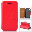 Stylish Flip-Open PU Leather Stand Case w/ Card Slot for Iphone 4 / 4S - Red
