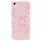 Embossment Rose Pattern Plastic Back Case for Iphone 5 - White + Deep Pink