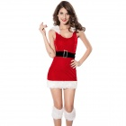 Women's Sexy Backless Sleeveless Skinny Dress for Christmas Party / Show - Red + White
