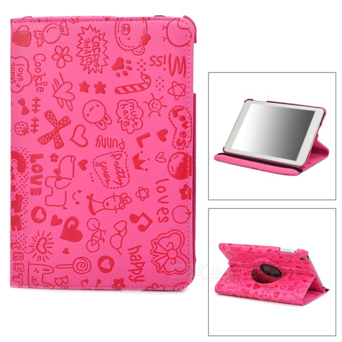 Cartoon Style Protective 360 Degree Rotation PU Leather Case for Ipad MINI - Deep Pink protective pu leather magnetic buckle case for ipad mini deep pink