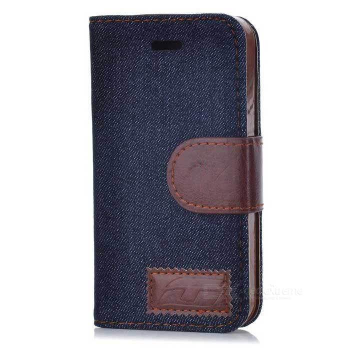 Protective Jeans PU Leather Case for Iphone 4 / 4S - Black + Brown
