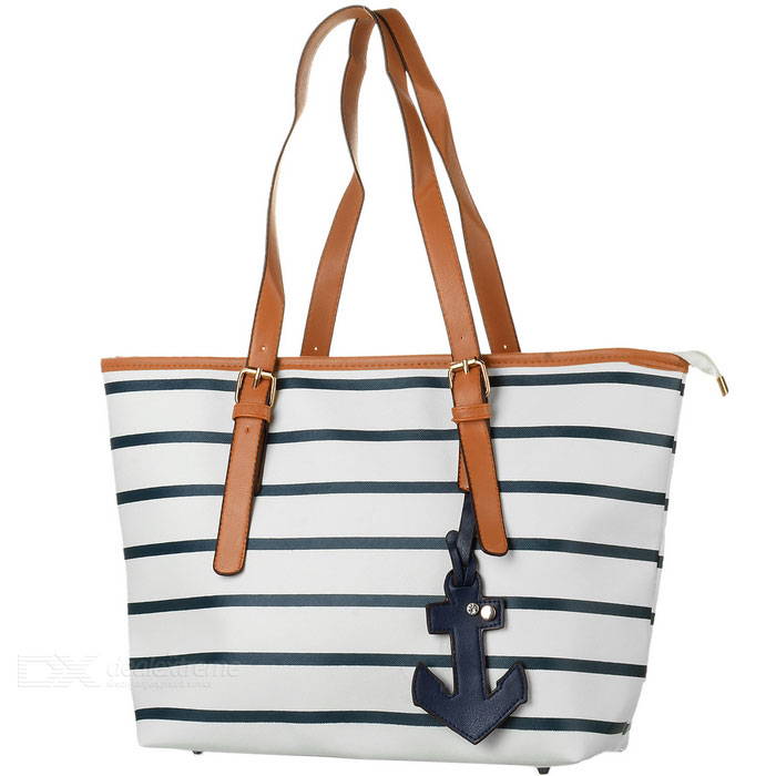 YL012 Stripe Pattern Casual PU Handbag / Shoulder Bag for Women - Deep Blue + White