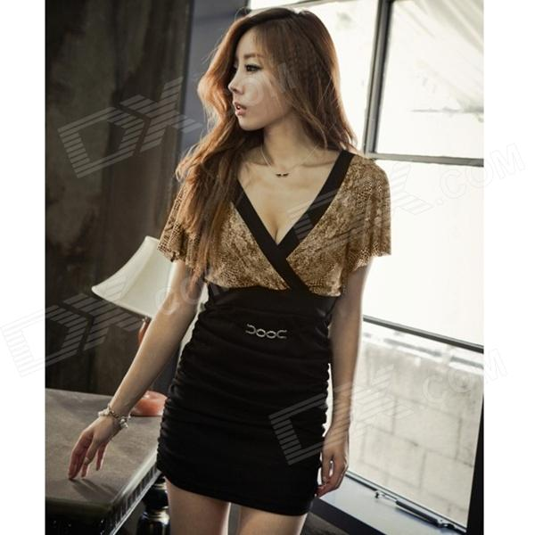 Fashion Sexy V-neck Milk Silk Dress for Women - Black + Brown