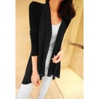 Fashion Chiffon + Cotton Cardigan für Damen - Schwarz