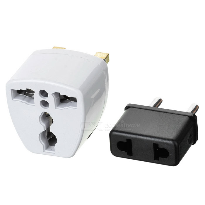 Replacement 2.5mm Connector US Plug Power Adapter + EU Adapter + UK Adapter - Black + White