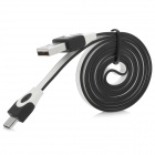 JTX USB to Micro USB Flat Cable for Samsung Galaxy S4 i9500 / i9300 + More - White + Black (100cm)