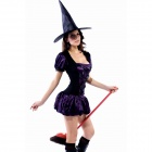 Women's Decorative Satin Dress + Hat for Halloween Old Witch - Black + Purple
