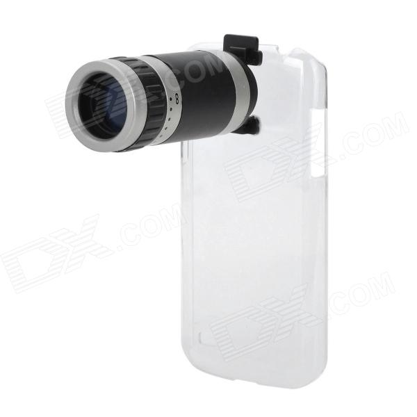 8X Magnification Lens + Plastic Back Case for Samsung Galaxy S4 mini / i9190 - Black + Silver replacement back camera circle lens for samsung galaxy s5 g900 black
