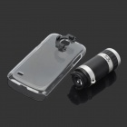 8X Magnification Lens + Plastic Back Case for Samsung Galaxy S4 mini / i9190 - Black + Silver