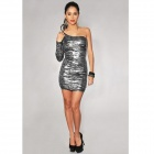 Shinning Polyester One-Shoulder One Long-Sleeve Skin-Tight Dress for Women - Black + Silver