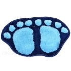 Cute Feet Style Water Absorbing Flocking Mat for Living Room / Bedroom / Bathroom - Deep Blue + Blue