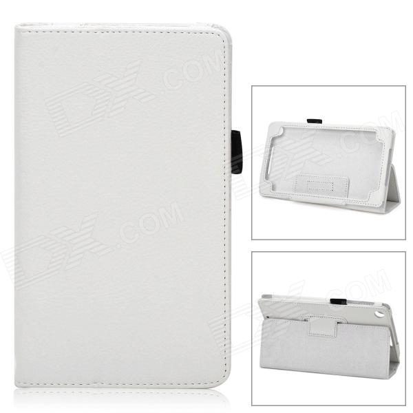 Lychee Grain Style Protective PU Leather Case for Google Nexus 7 II - White