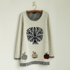 British style Tree Pattern Fleece for Women - Grey (Free Size)