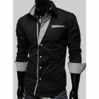 Fashionable Men's Long-Sleeve Slim Fit Shirt - Black (Size-XL)