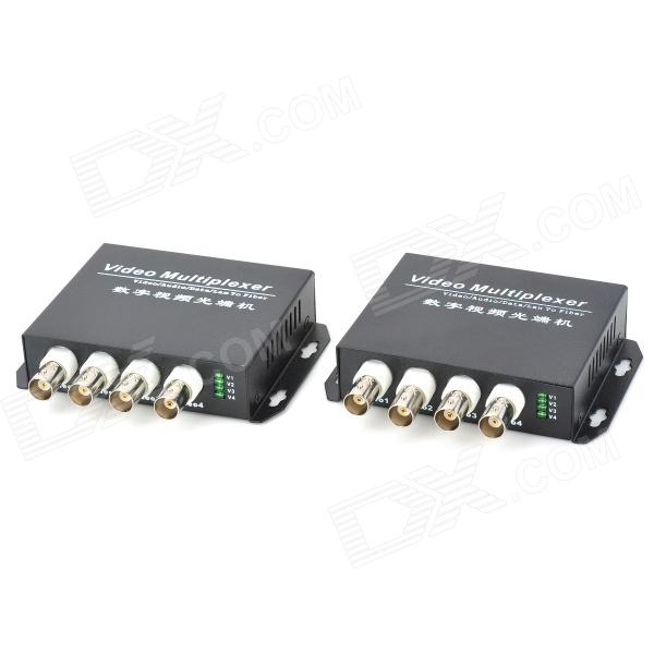 E-4V 20Km Single-Mode Single Fiber 4-CH Digital Video Optical Multiplexer 1 pair 2 pieces lot 4 channel video optical converter 4v1d fiber optic video optical transmitter