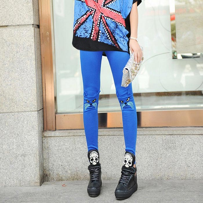 DDK-05 Stylish Cat Pattern Cotton Leggings for Women - Blue
