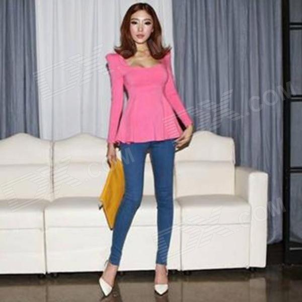 Fashion Women's Skin Tight Blended Cotton Long-sleeves Collarless Low-cut Blouse - Deep Pink