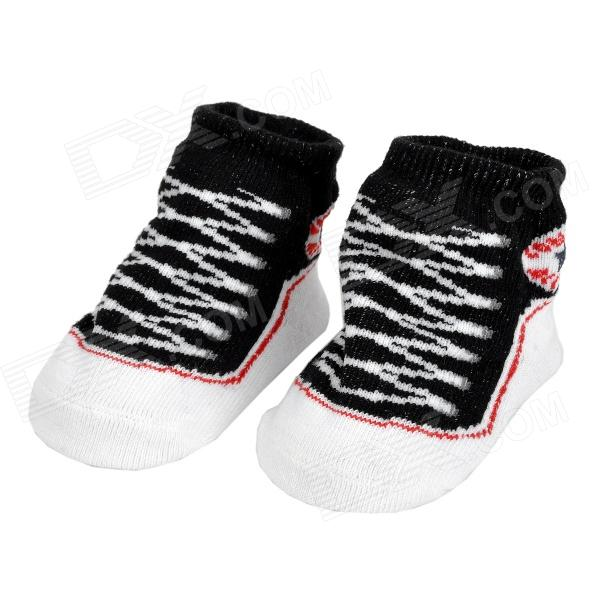 Stylish Anti-Slip Cotton Socks for Baby - Black + White (Pair)