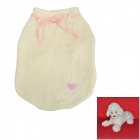 Cute Bowknot Decorated Cotton Warm Sweater for Pet Dog - White + Pink (M)