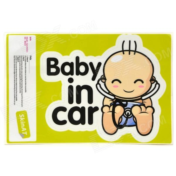 Фото Baby In Car Letters + Baby Pattern Car Warning Sticker - Beige + Black + White new safurance 200w 12v loud speaker car horn siren warning alarm stainless steel home security safety